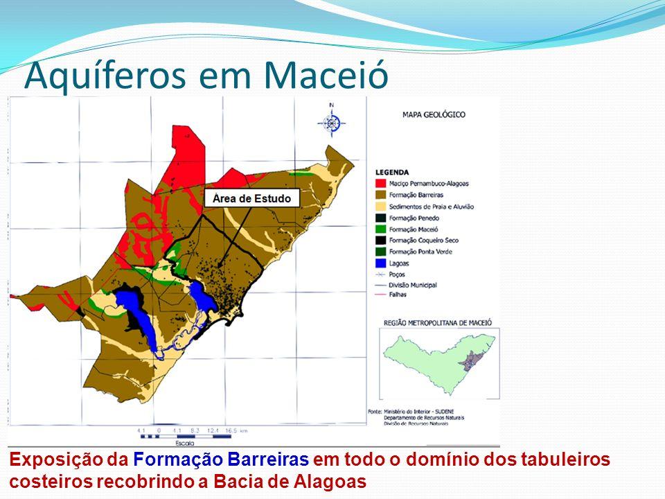Aquíferos em Maceió Exposição da Formação Barreiras em todo o domínio dos tabuleiros costeiros recobrindo a Bacia de Alagoas.