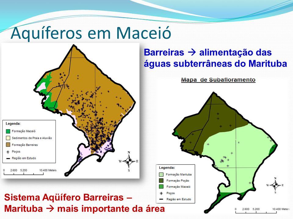Aquíferos em Maceió Barreiras  alimentação das águas subterrâneas do Marituba.