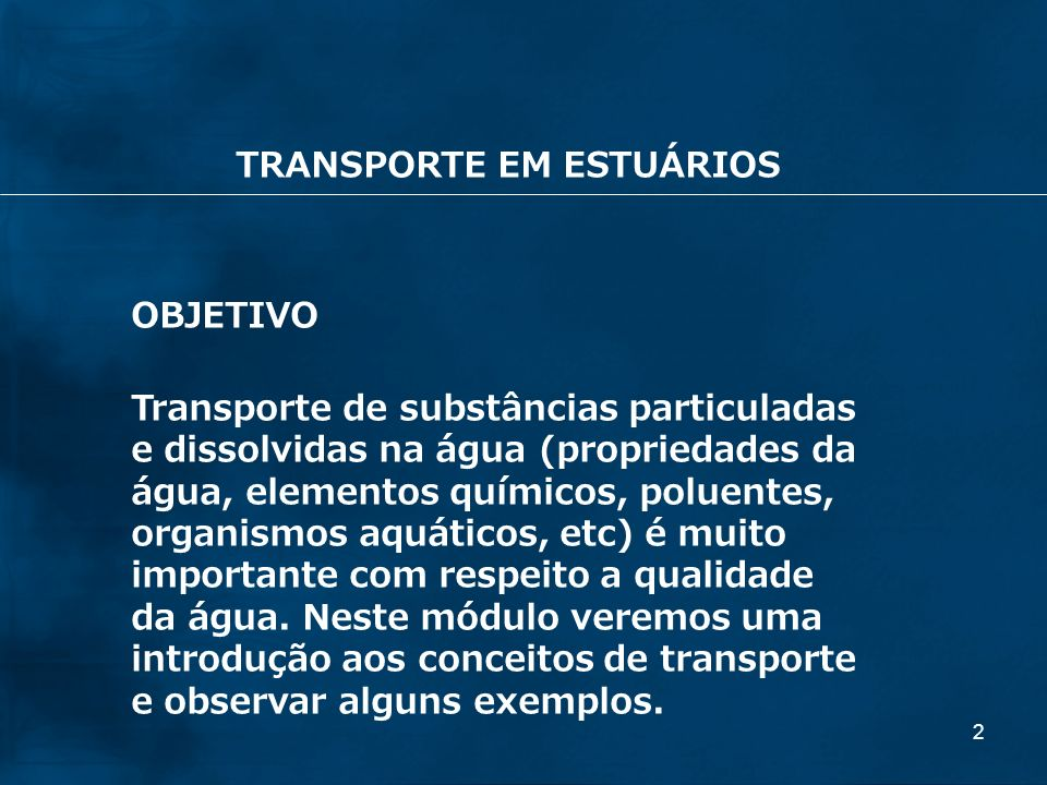 TRANSPORTE EM ESTUÁRIOS