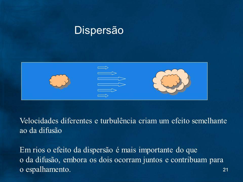 DispersãoVelocidades diferentes e turbulência criam um efeito semelhante. ao da difusão. Em rios o efeito da dispersão é mais importante do que.