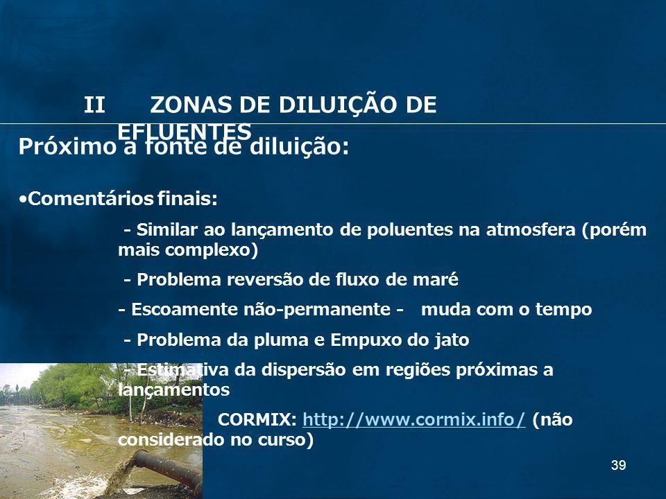II ZONAS DE DILUIÇÃO DE EFLUENTES