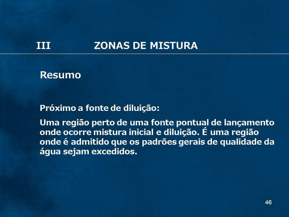III ZONAS DE MISTURA Resumo Próximo a fonte de diluição:
