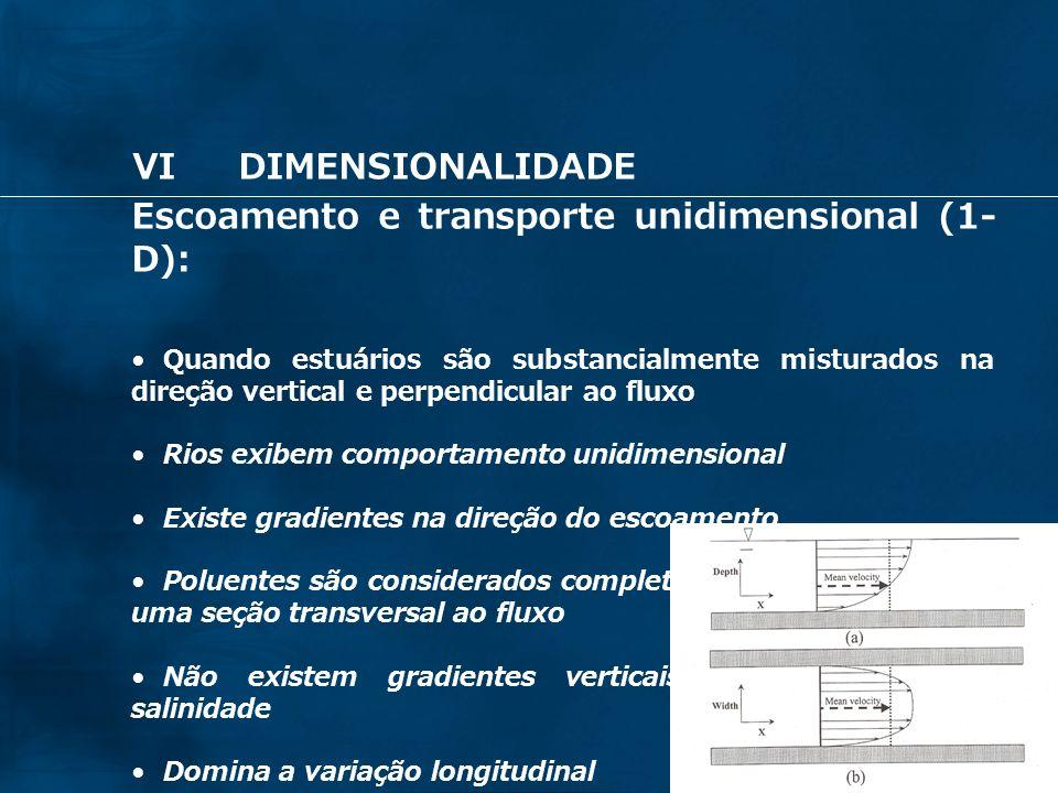 Escoamento e transporte unidimensional (1-D):