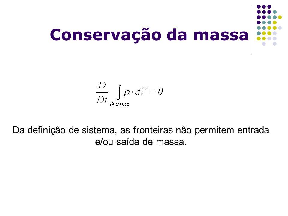 Conservação da massa Da definição de sistema, as fronteiras não permitem entrada e/ou saída de massa.