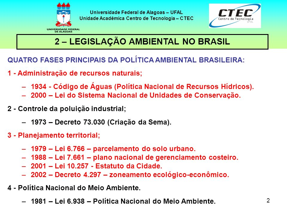 2 – LEGISLAÇÃO AMBIENTAL NO BRASIL