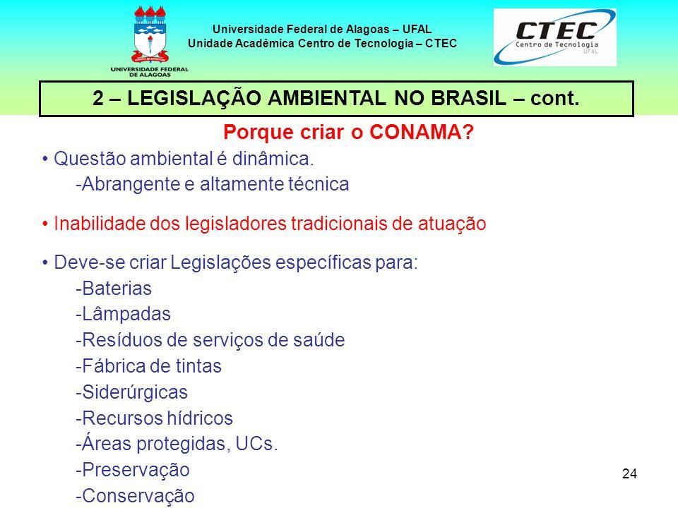 2 – LEGISLAÇÃO AMBIENTAL NO BRASIL – cont. Porque criar o CONAMA