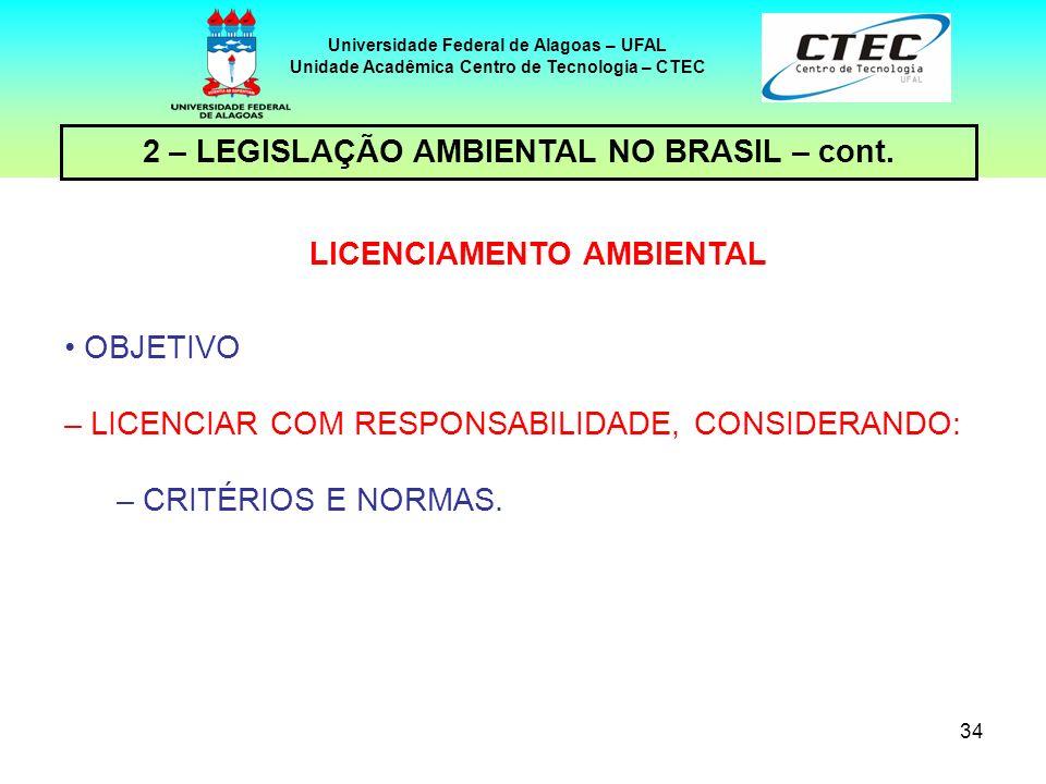 2 – LEGISLAÇÃO AMBIENTAL NO BRASIL – cont. LICENCIAMENTO AMBIENTAL