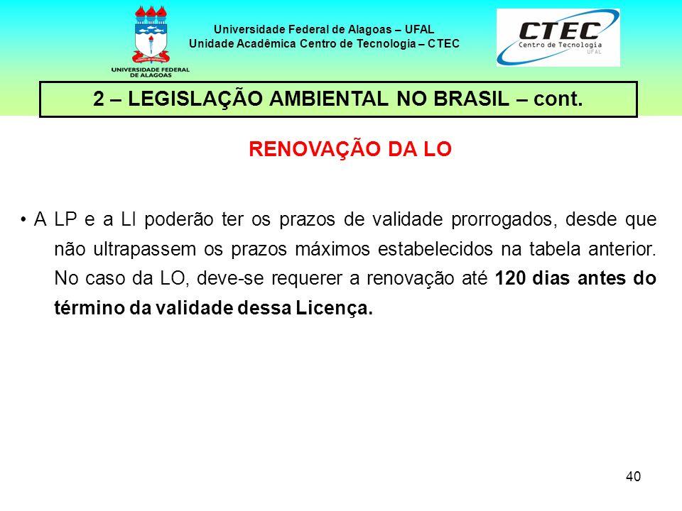 2 – LEGISLAÇÃO AMBIENTAL NO BRASIL – cont. RENOVAÇÃO DA LO