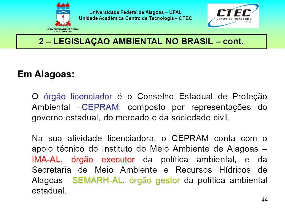 Em Alagoas: 2 – LEGISLAÇÃO AMBIENTAL NO BRASIL – cont.
