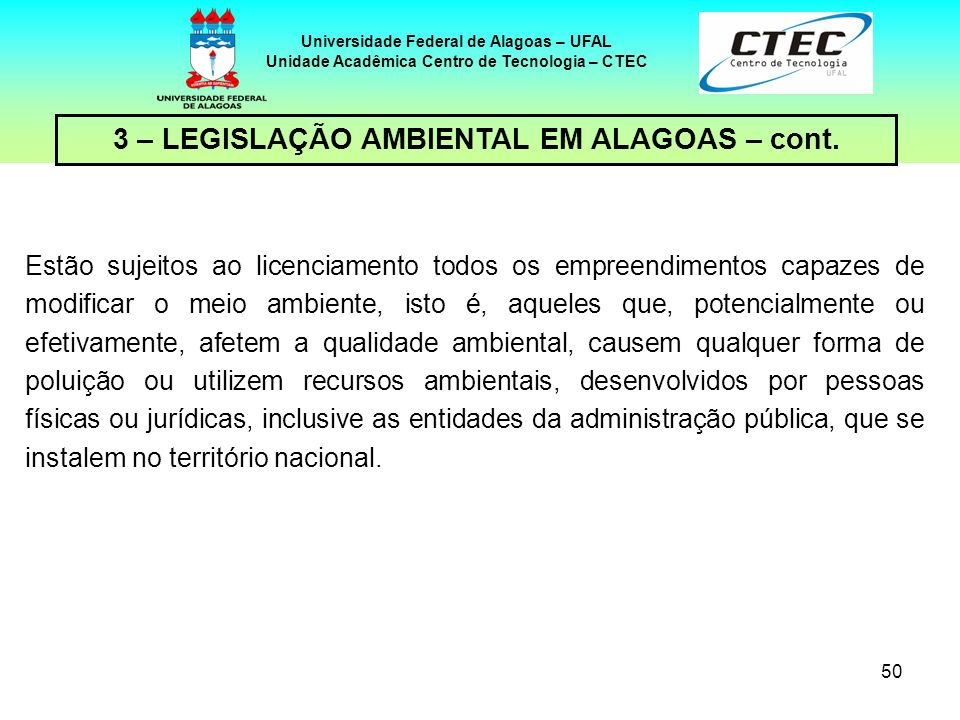 3 – LEGISLAÇÃO AMBIENTAL EM ALAGOAS – cont.
