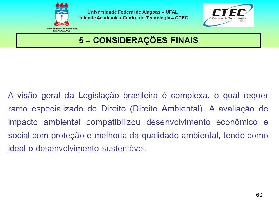 Unidade Acadêmica Centro de Tecnologia – CTEC 5 – CONSIDERAÇÕES FINAIS