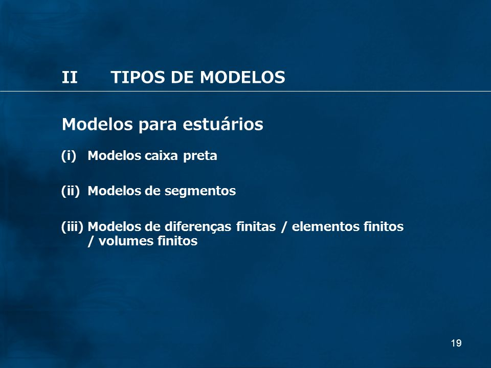 Modelos para estuários