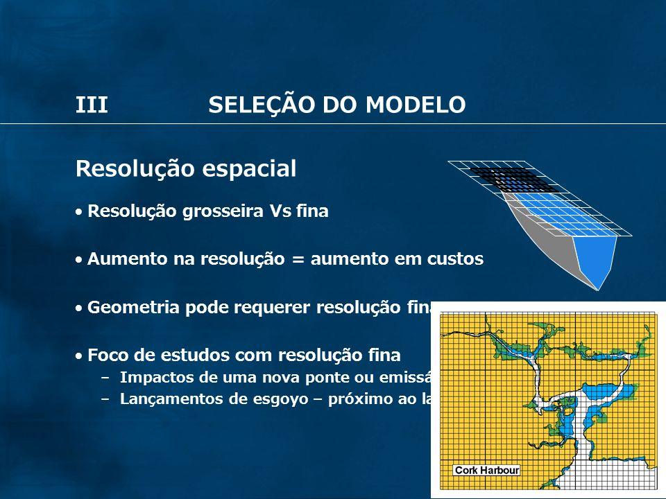 III SELEÇÃO DO MODELO Resolução espacial Resolução grosseira Vs fina