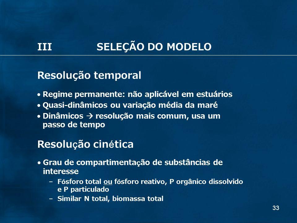 III SELEÇÃO DO MODELO Resolução temporal Resolução cinética