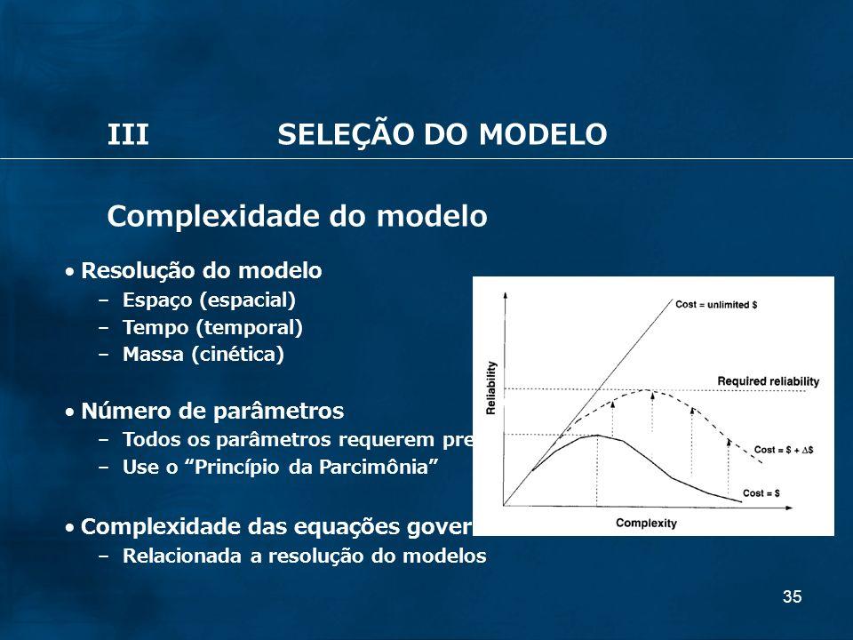 Complexidade do modelo