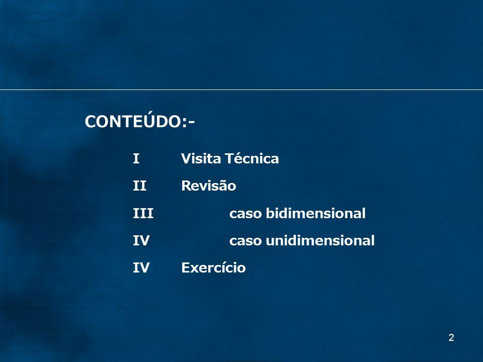 CONTEÚDO:- I Visita Técnica II Revisão III caso bidimensional