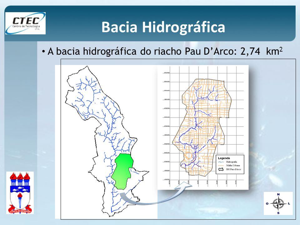 Bacia Hidrográfica A bacia hidrográfica do riacho Pau D'Arco: 2,74 km2