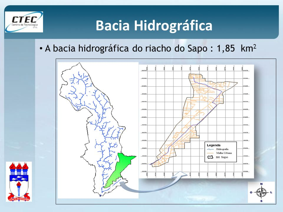 Bacia Hidrográfica A bacia hidrográfica do riacho do Sapo : 1,85 km2