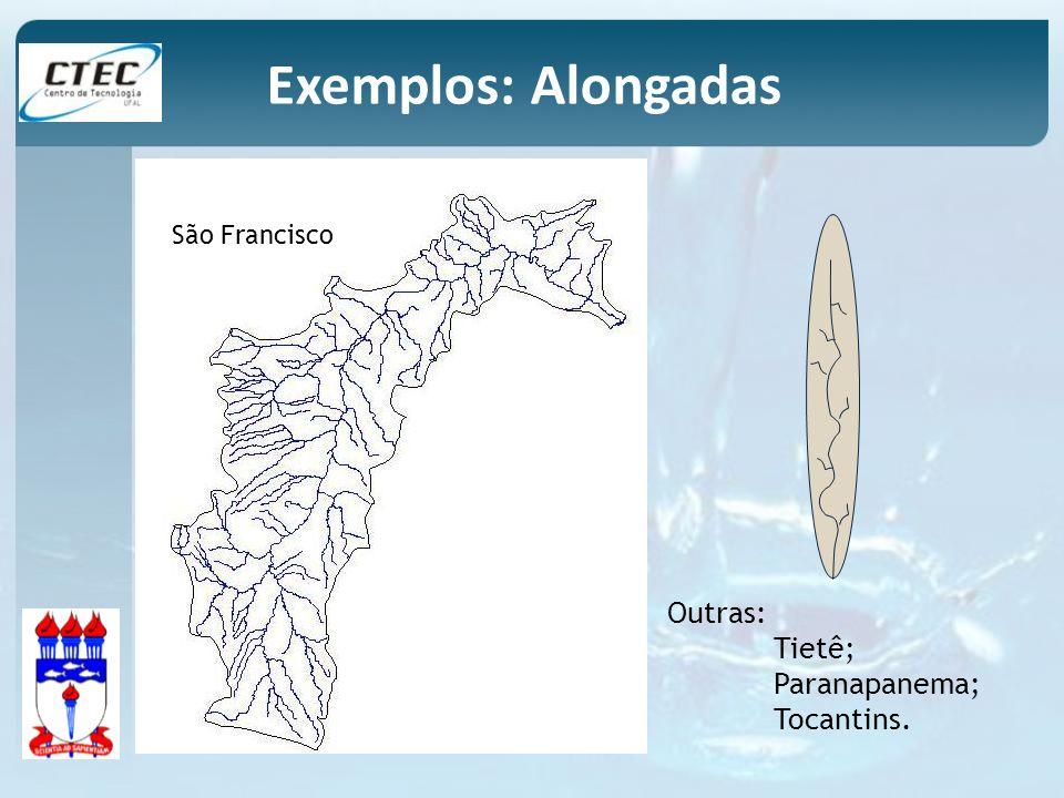 Exemplos: Alongadas Outras: Tietê; Paranapanema; Tocantins.