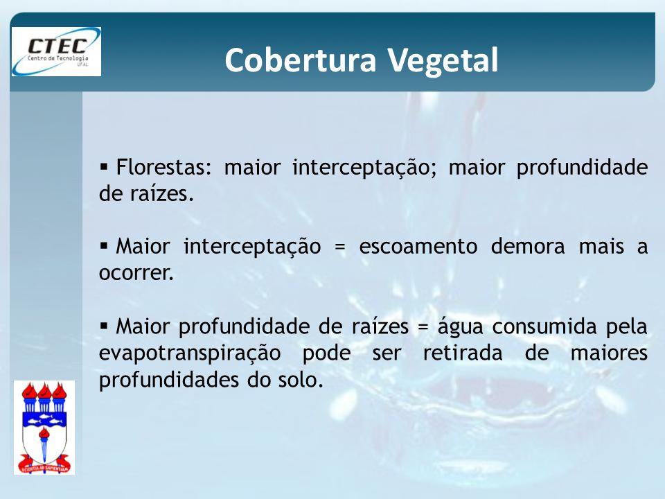 Cobertura Vegetal Florestas: maior interceptação; maior profundidade de raízes. Maior interceptação = escoamento demora mais a ocorrer.