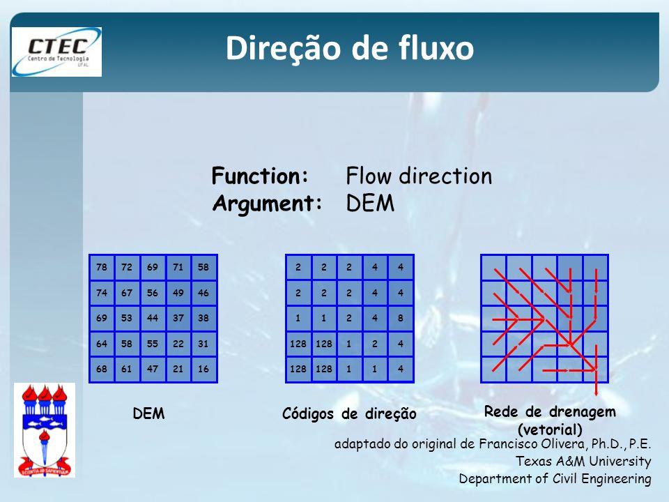 Direção de fluxo Function: Flow direction Argument: DEM DEM