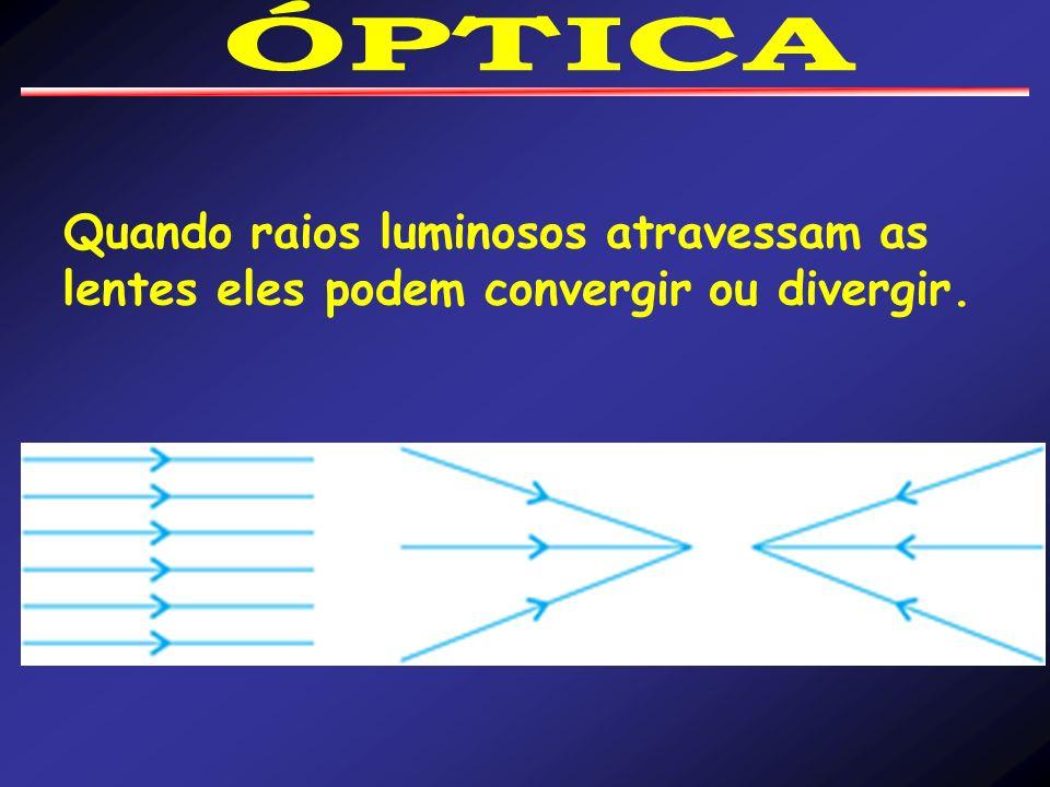 ÓPTICA Quando raios luminosos atravessam as lentes eles podem convergir ou divergir.