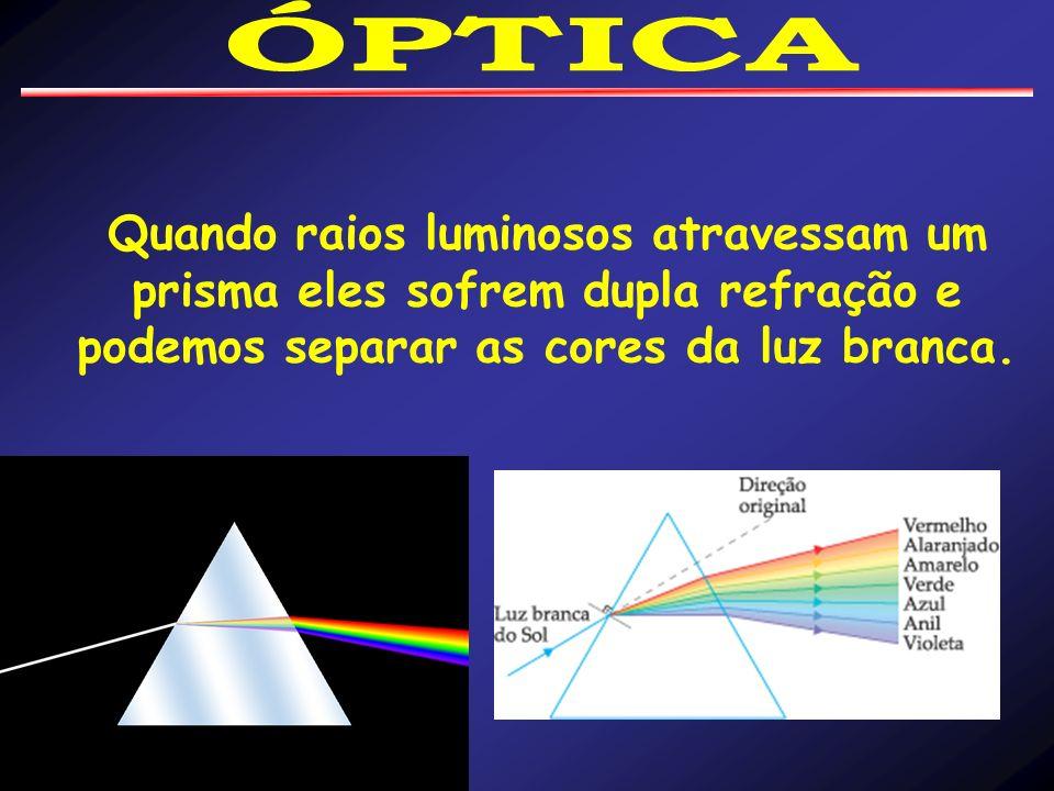 ÓPTICA Quando raios luminosos atravessam um prisma eles sofrem dupla refração e podemos separar as cores da luz branca.