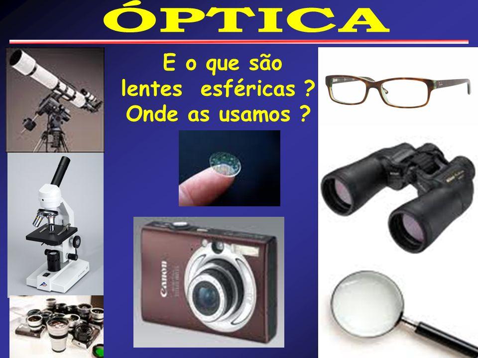 ÓPTICA E o que são lentes esféricas Onde as usamos