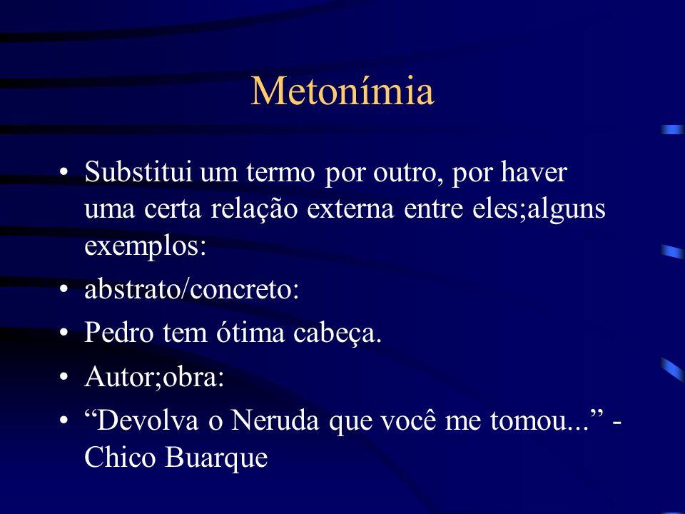 Metonímia Substitui um termo por outro, por haver uma certa relação externa entre eles;alguns exemplos: