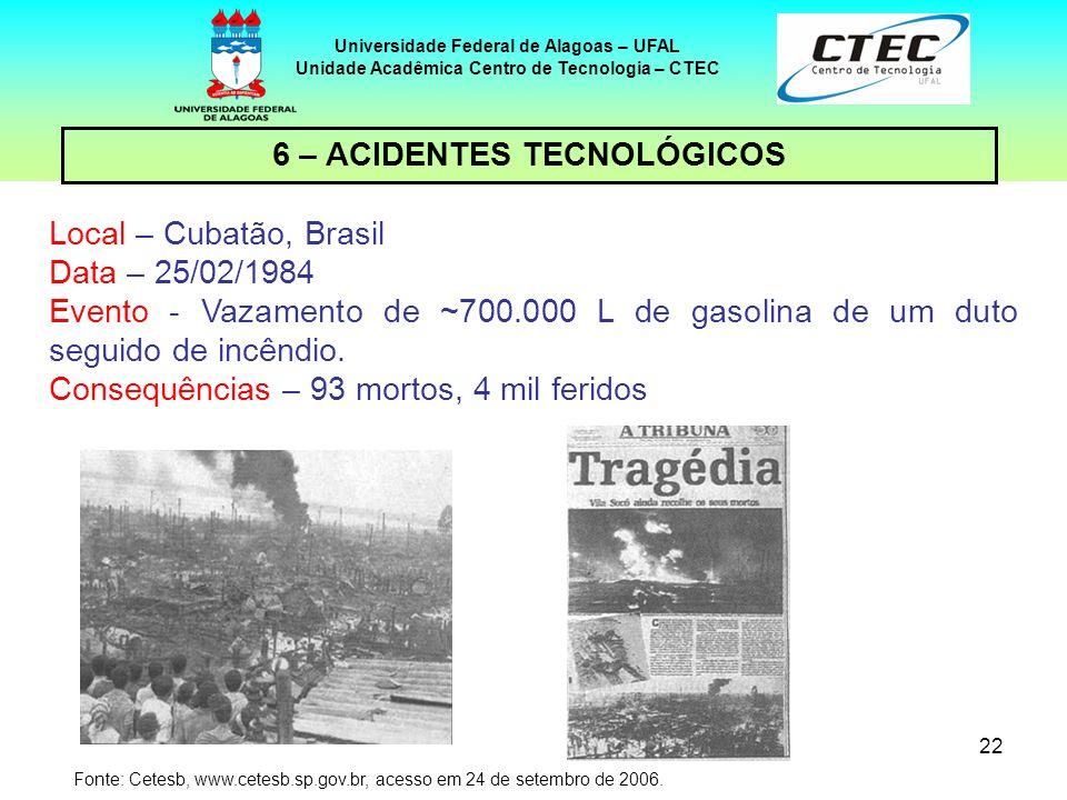 6 – ACIDENTES TECNOLÓGICOS