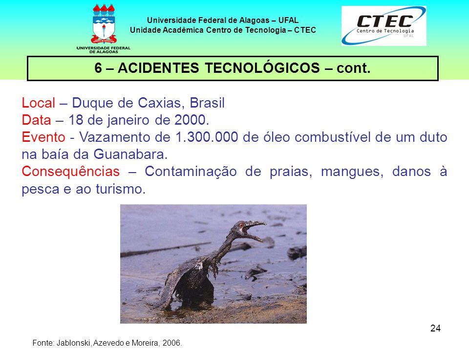 6 – ACIDENTES TECNOLÓGICOS – cont.