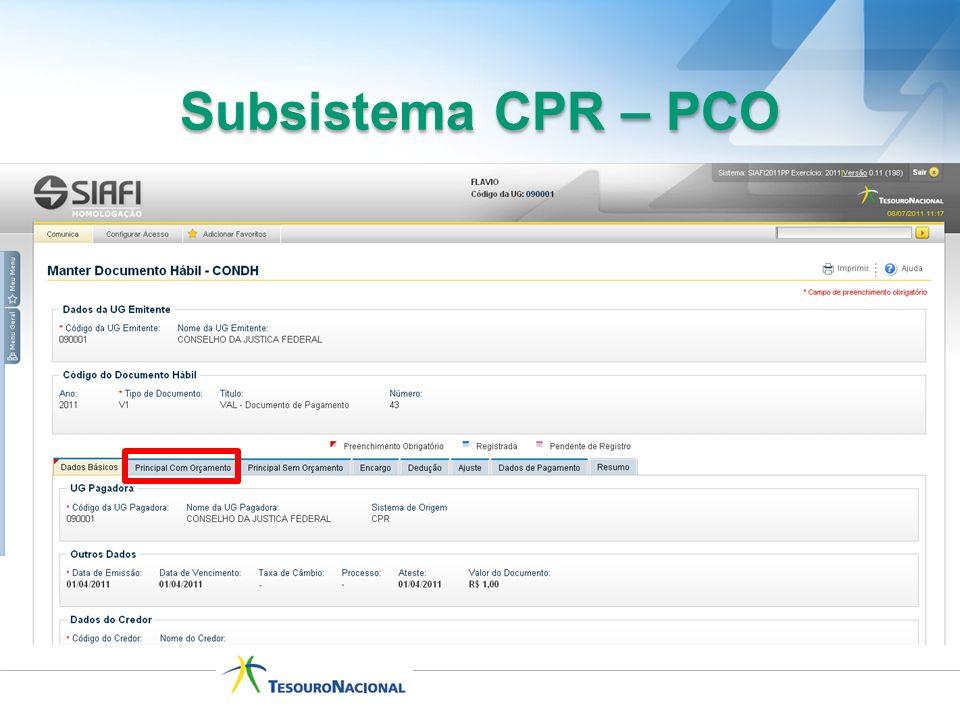 Subsistema CPR – PCO