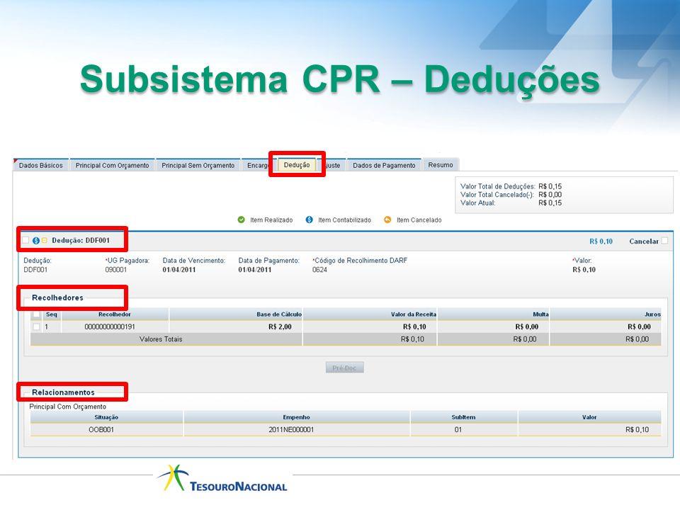 Subsistema CPR – Deduções
