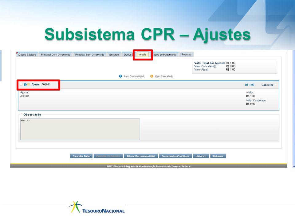 Subsistema CPR – Ajustes