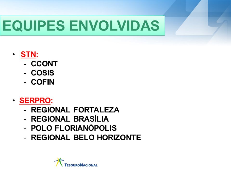 EQUIPES ENVOLVIDAS STN: CCONT COSIS COFIN SERPRO: REGIONAL FORTALEZA