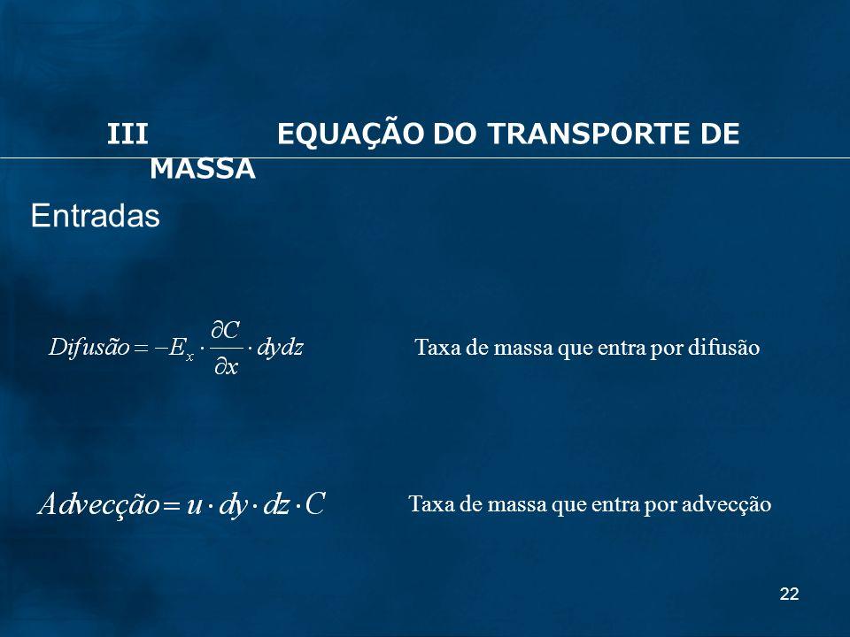 Entradas III EQUAÇÃO DO TRANSPORTE DE MASSA