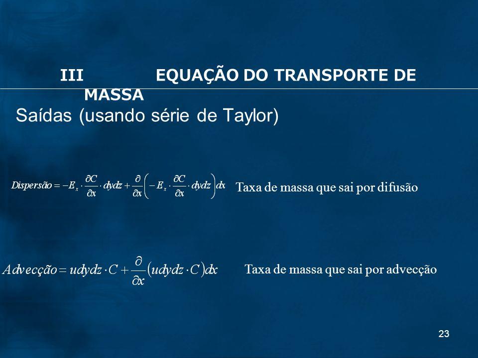 Saídas (usando série de Taylor)