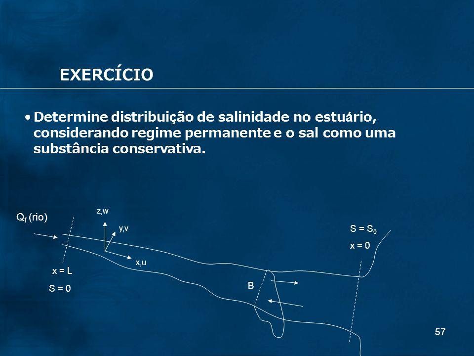 EXERCÍCIO Determine distribuição de salinidade no estuário, considerando regime permanente e o sal como uma substância conservativa.