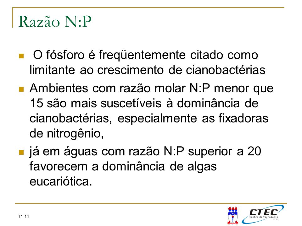 Razão N:P O fósforo é freqüentemente citado como limitante ao crescimento de cianobactérias.