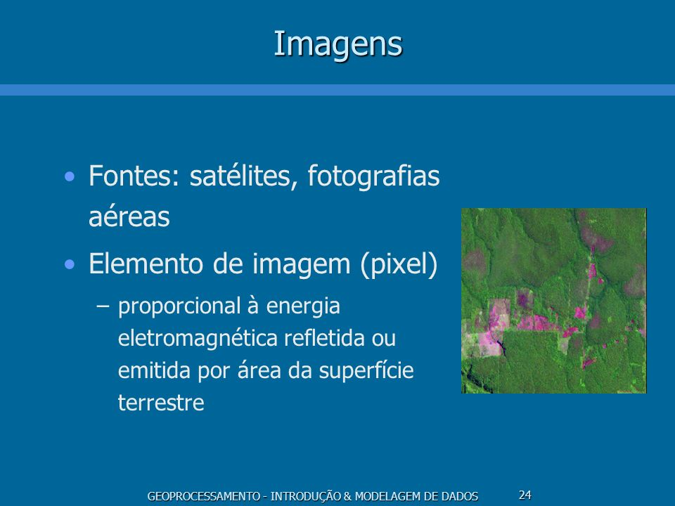 Imagens Fontes: satélites, fotografias aéreas