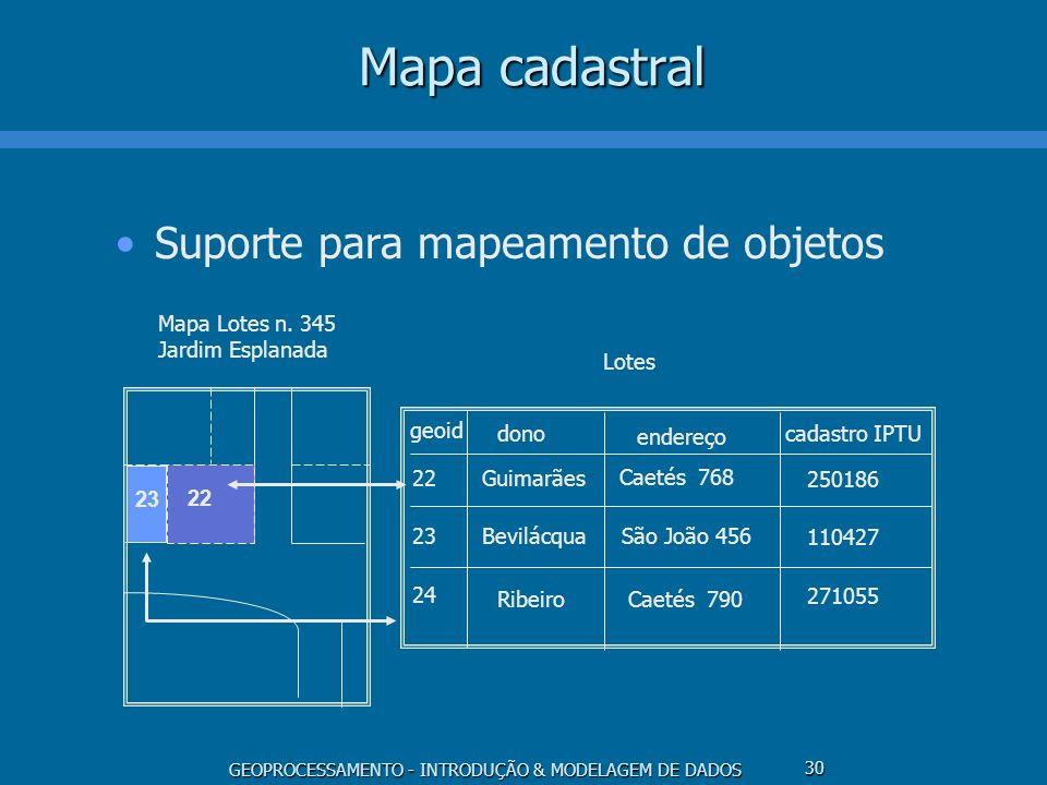 Mapa cadastral Suporte para mapeamento de objetos Lotes geoid dono