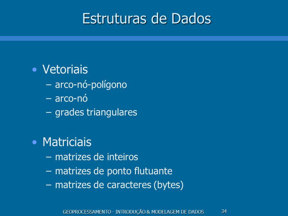 Estruturas de Dados Vetoriais Matriciais arco-nó-polígono arco-nó