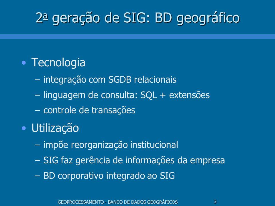 2a geração de SIG: BD geográfico