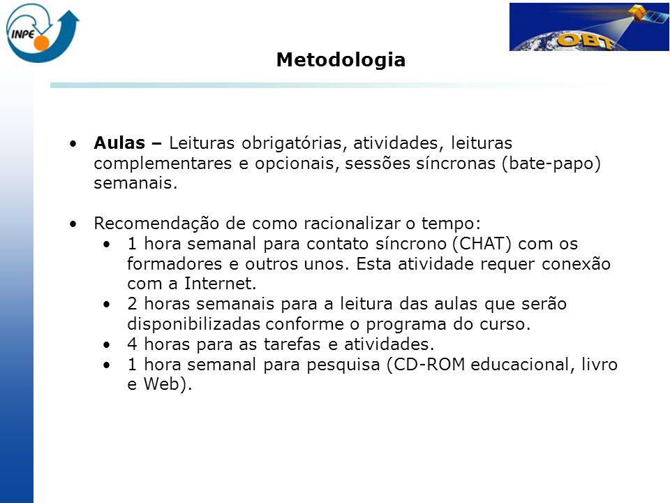 Metodologia Aulas – Leituras obrigatórias, atividades, leituras complementares e opcionais, sessões síncronas (bate-papo) semanais.