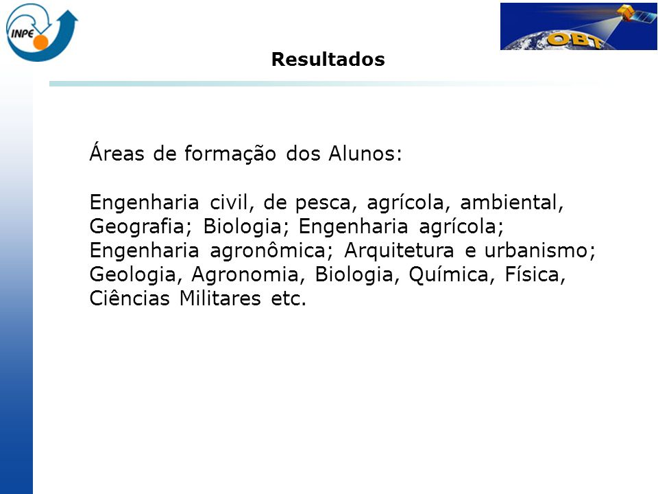 Áreas de formação dos Alunos: