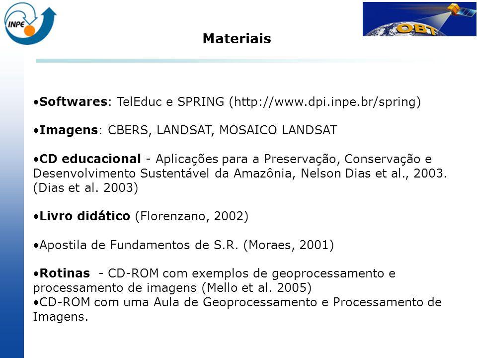 Materiais Softwares: TelEduc e SPRING (http://www.dpi.inpe.br/spring)