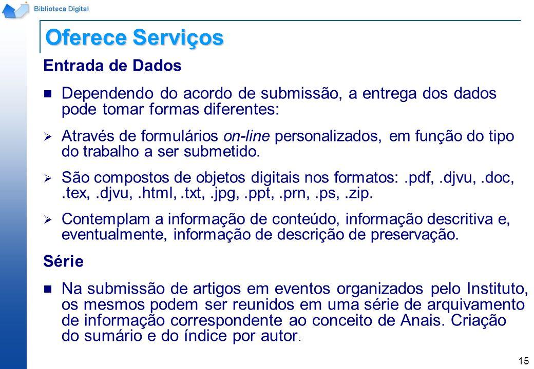 Oferece Serviços Entrada de Dados