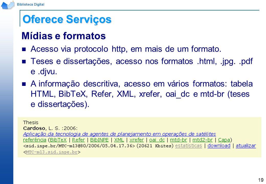 Oferece Serviços Mídias e formatos