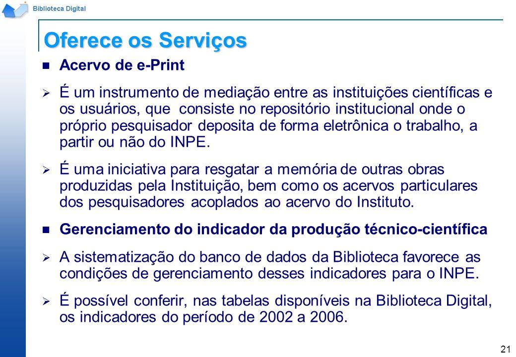 Oferece os Serviços Acervo de e-Print