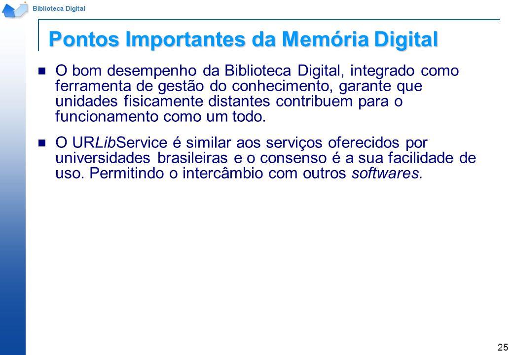 Pontos Importantes da Memória Digital